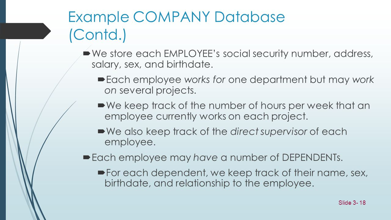 Example COMPANY Database (Contd.)