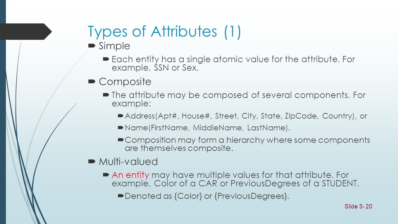 Types of Attributes (1) Simple Composite Multi-valued