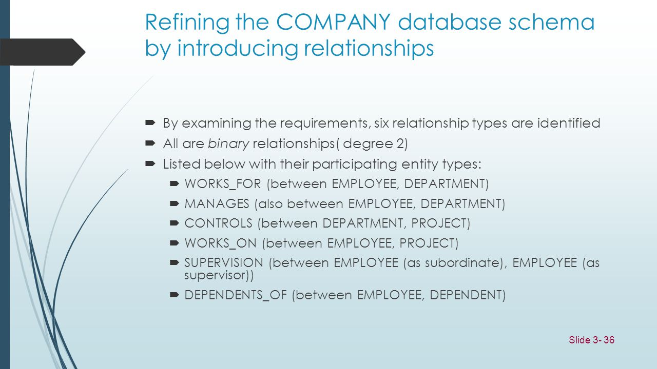 Refining the COMPANY database schema by introducing relationships