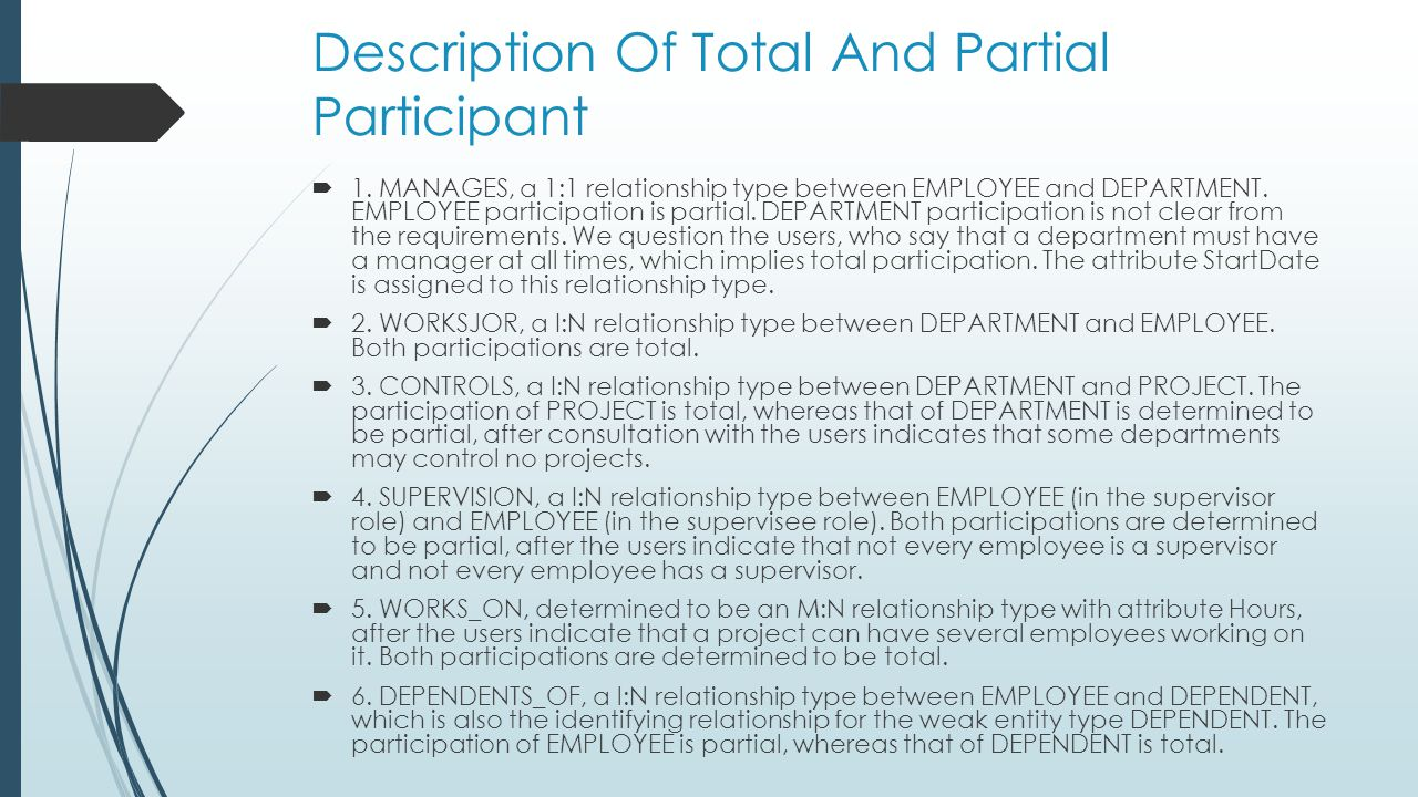 Description Of Total And Partial Participant