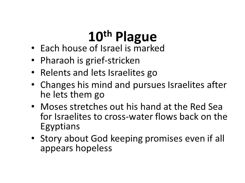 10th Plague Each house of Israel is marked Pharaoh is grief-stricken