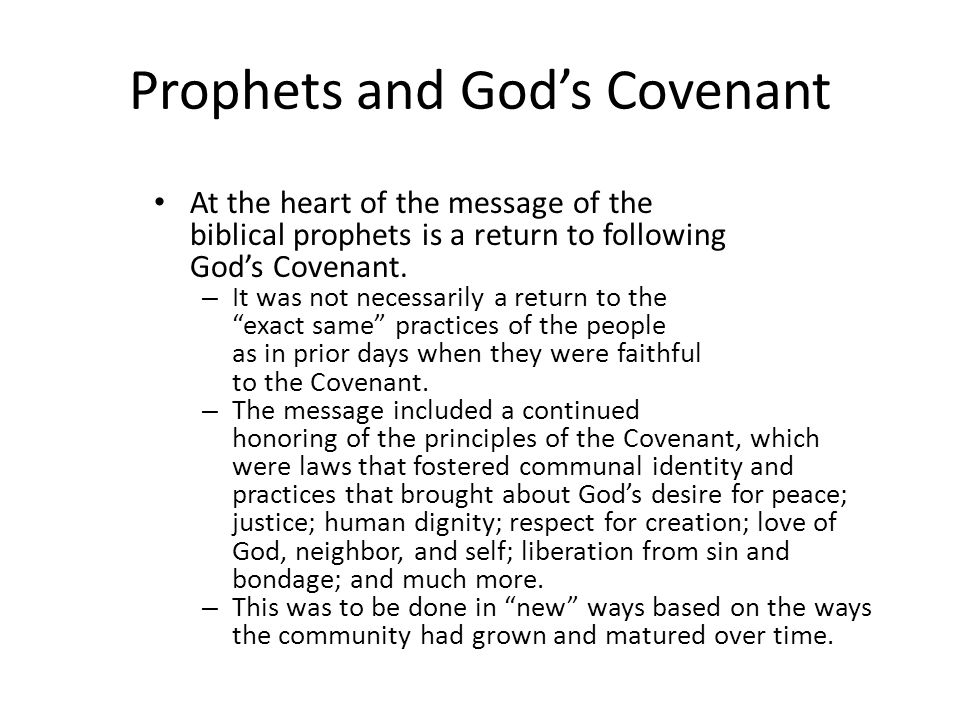 Prophets and God's Covenant
