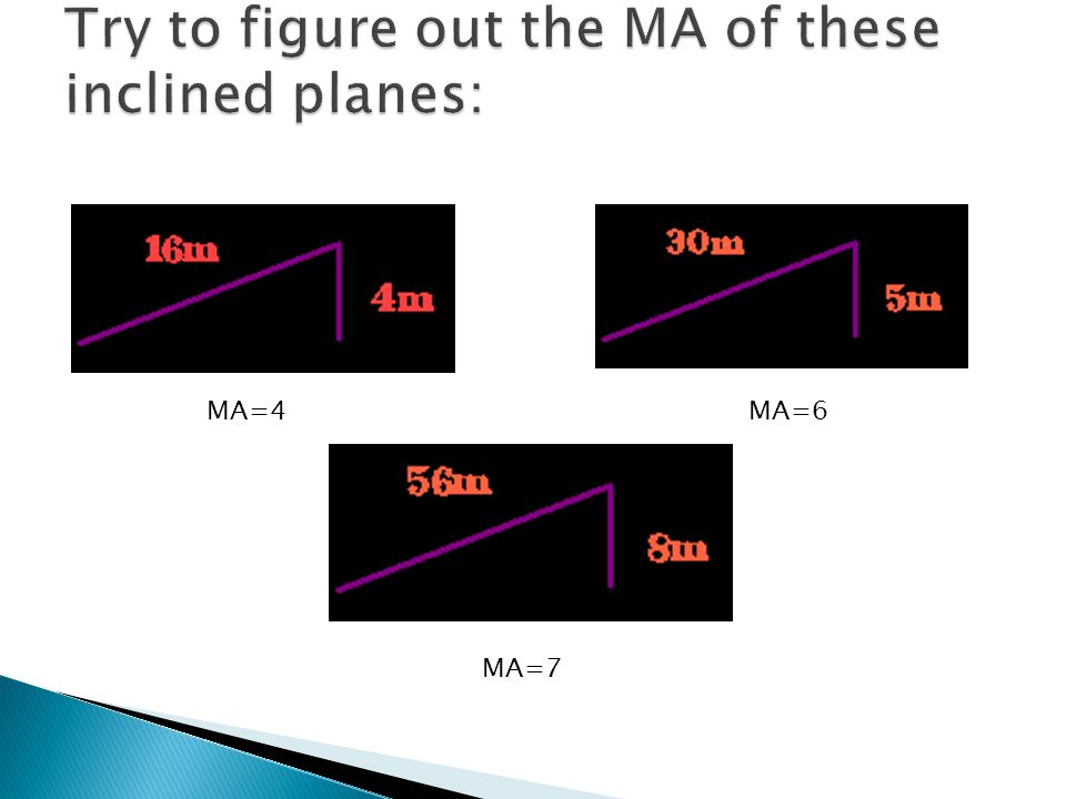 Try to figure out the MA of these inclined planes:
