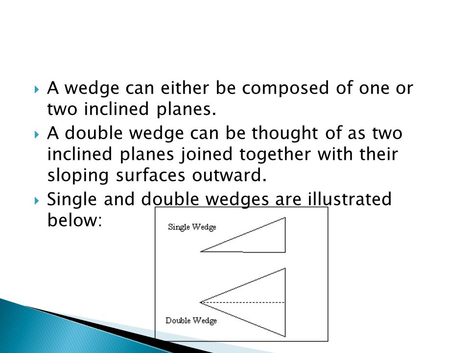 A wedge can either be composed of one or two inclined planes.