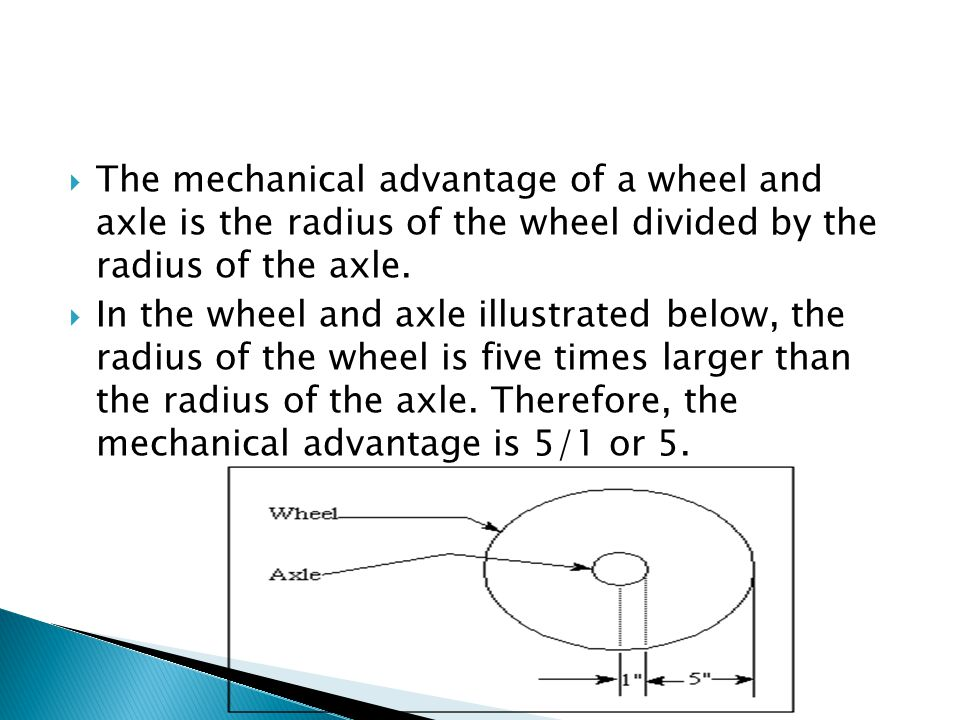 The mechanical advantage of a wheel and axle is the radius of the wheel divided by the radius of the axle.