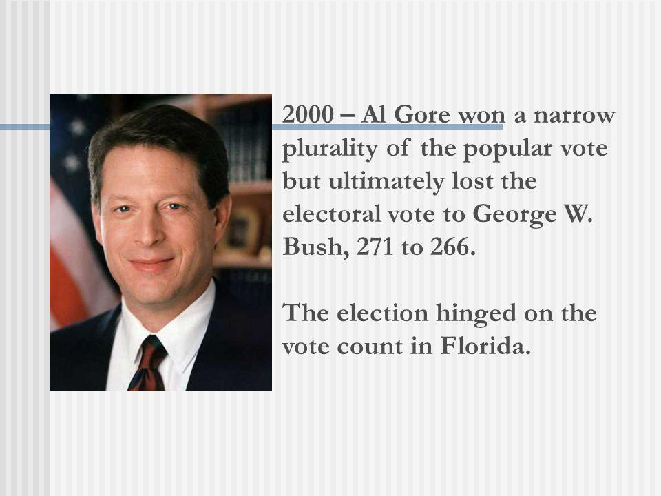 The election hinged on the vote count in Florida.