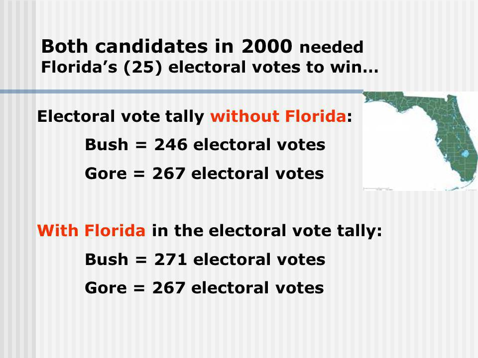 Both candidates in 2000 needed Florida's (25) electoral votes to win…