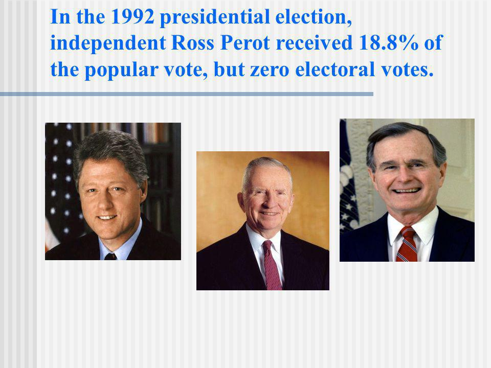 In the 1992 presidential election, independent Ross Perot received 18