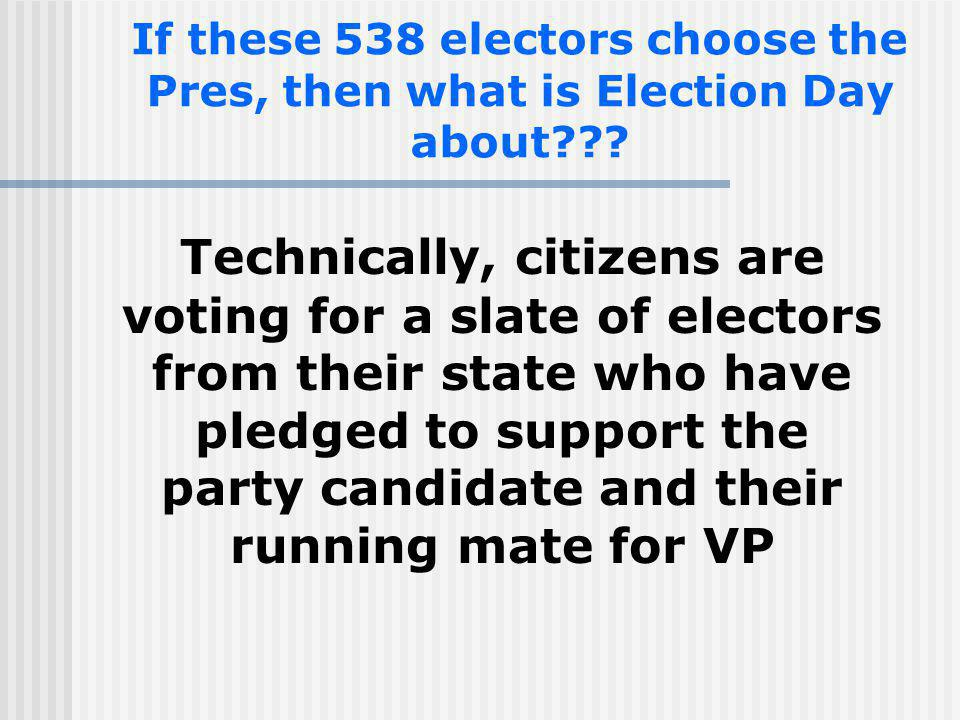 If these 538 electors choose the Pres, then what is Election Day about