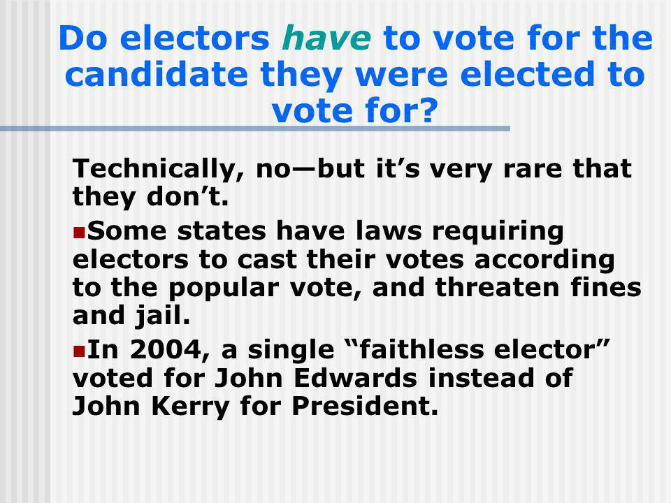 Do electors have to vote for the candidate they were elected to vote for