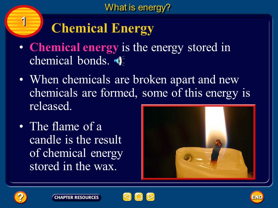 What is energy 1. Chemical Energy. Chemical energy is the energy stored in chemical bonds.