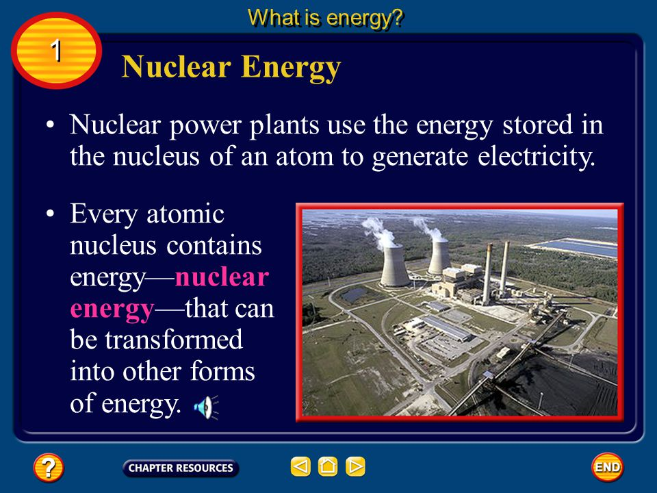What is energy 1. Nuclear Energy. Nuclear power plants use the energy stored in the nucleus of an atom to generate electricity.