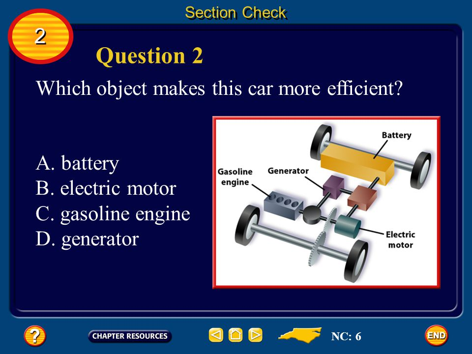 Question 2 2 Which object makes this car more efficient A. battery