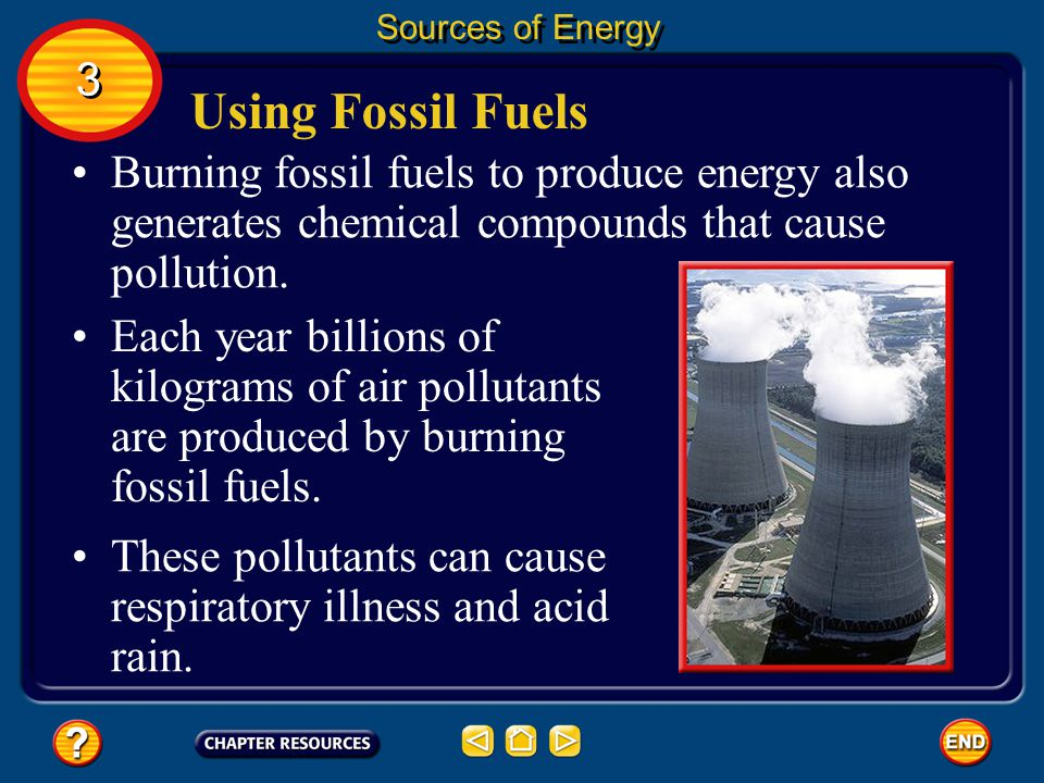 Sources of Energy 3. Using Fossil Fuels. Burning fossil fuels to produce energy also generates chemical compounds that cause pollution.