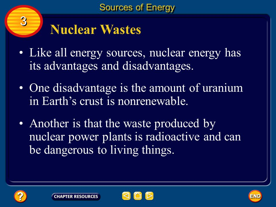 Sources of Energy 3. Nuclear Wastes. Like all energy sources, nuclear energy has its advantages and disadvantages.