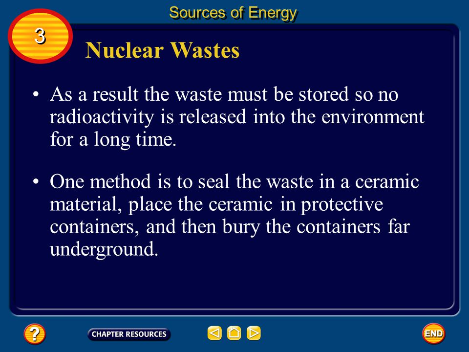 Sources of Energy 3. Nuclear Wastes. As a result the waste must be stored so no radioactivity is released into the environment for a long time.