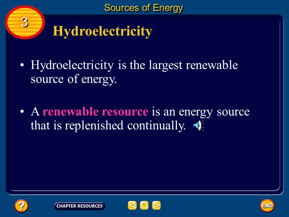 Sources of Energy 3. Hydroelectricity. Hydroelectricity is the largest renewable source of energy.