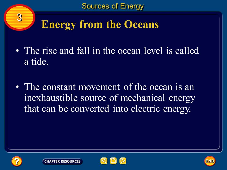 Sources of Energy 3. Energy from the Oceans. The rise and fall in the ocean level is called a tide.