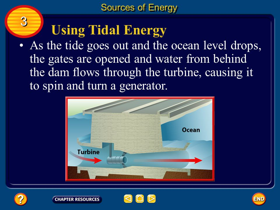 Sources of Energy 3. Using Tidal Energy.