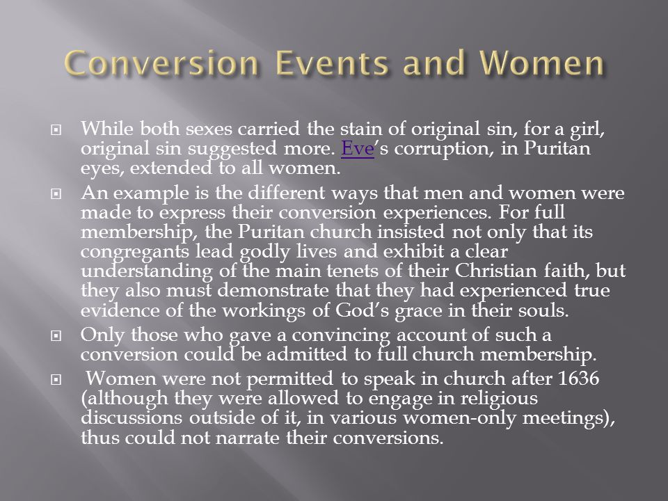 Conversion Events and Women