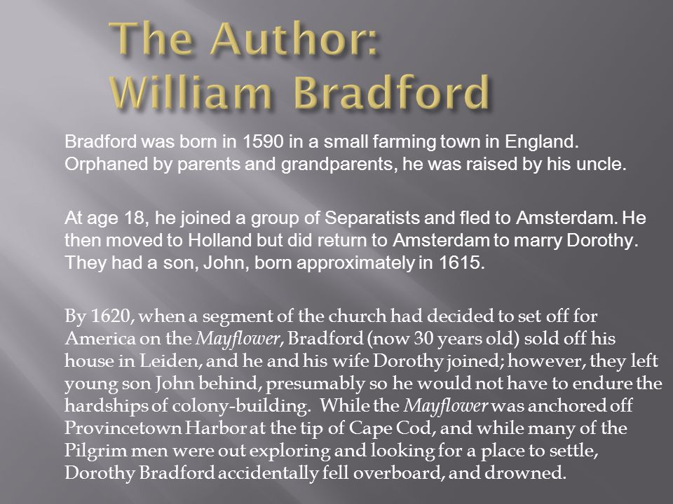 The Author: William Bradford