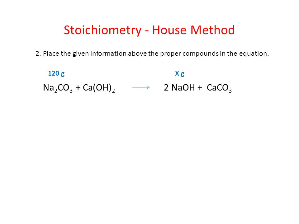 Stoichiometry - House Method