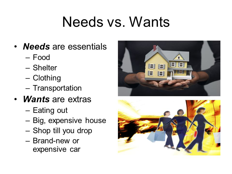 Needs vs. Wants Needs are essentials Wants are extras Food Shelter