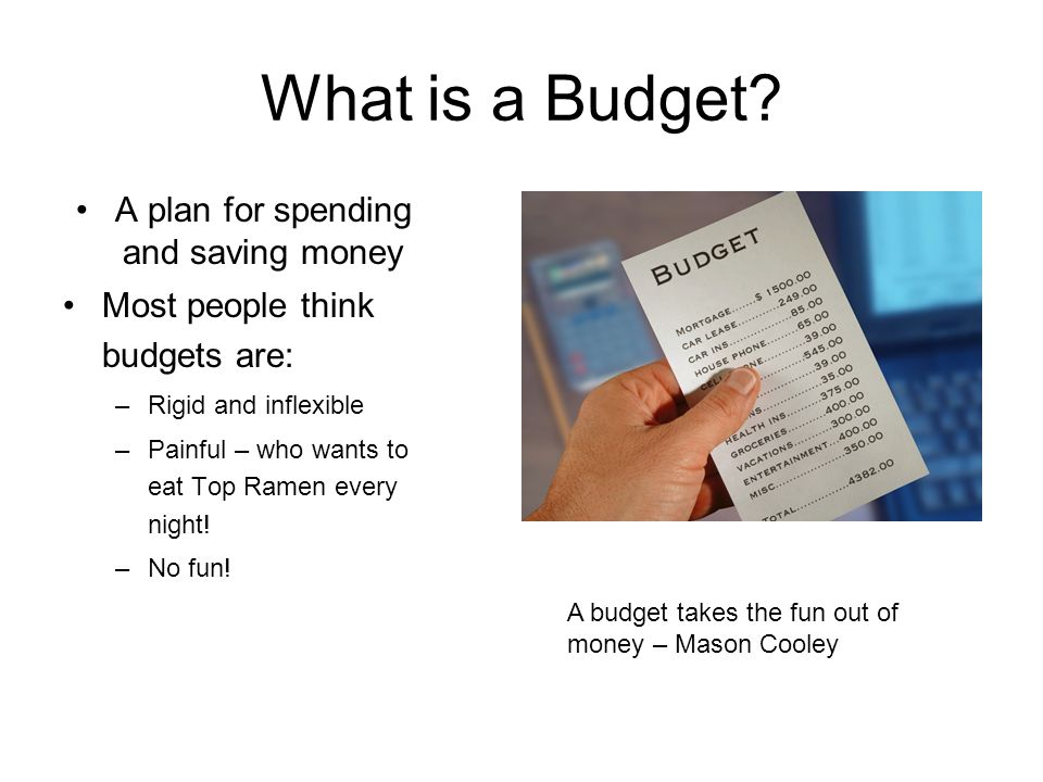 A plan for spending and saving money