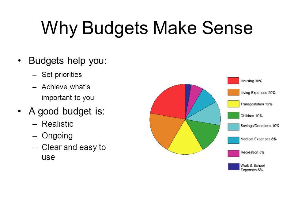 Why Budgets Make Sense Budgets help you: A good budget is: Realistic