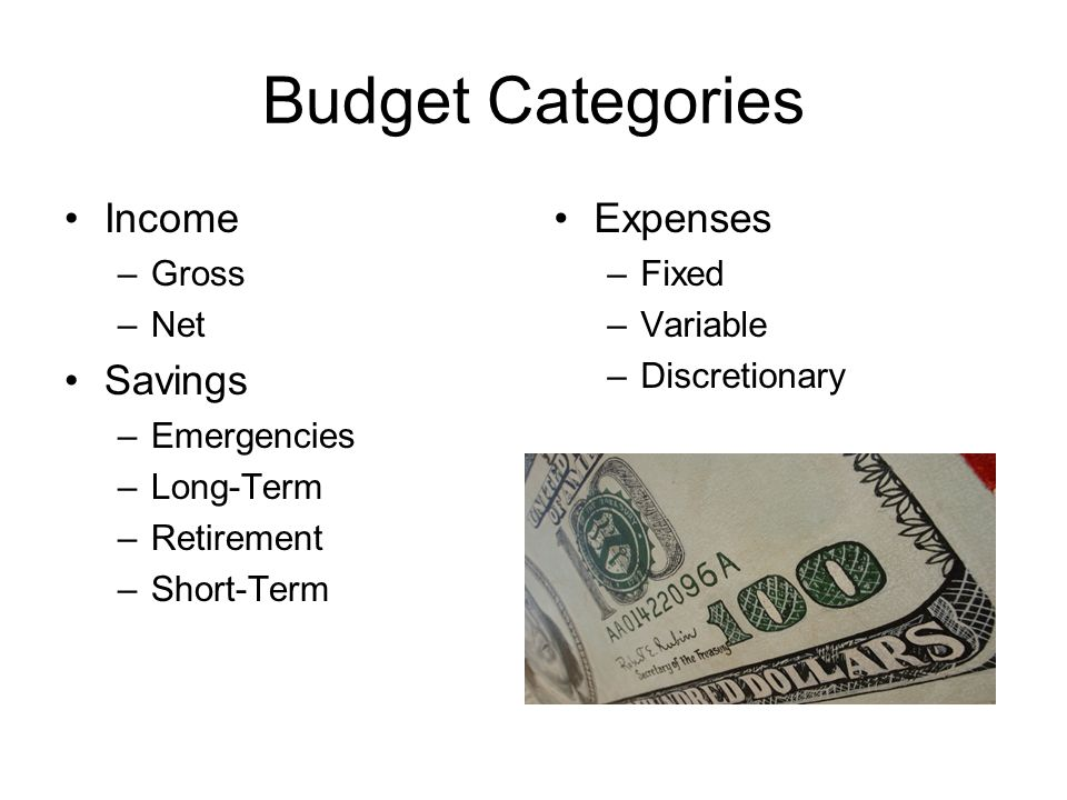Budget Categories Income Savings Expenses Gross Net Emergencies