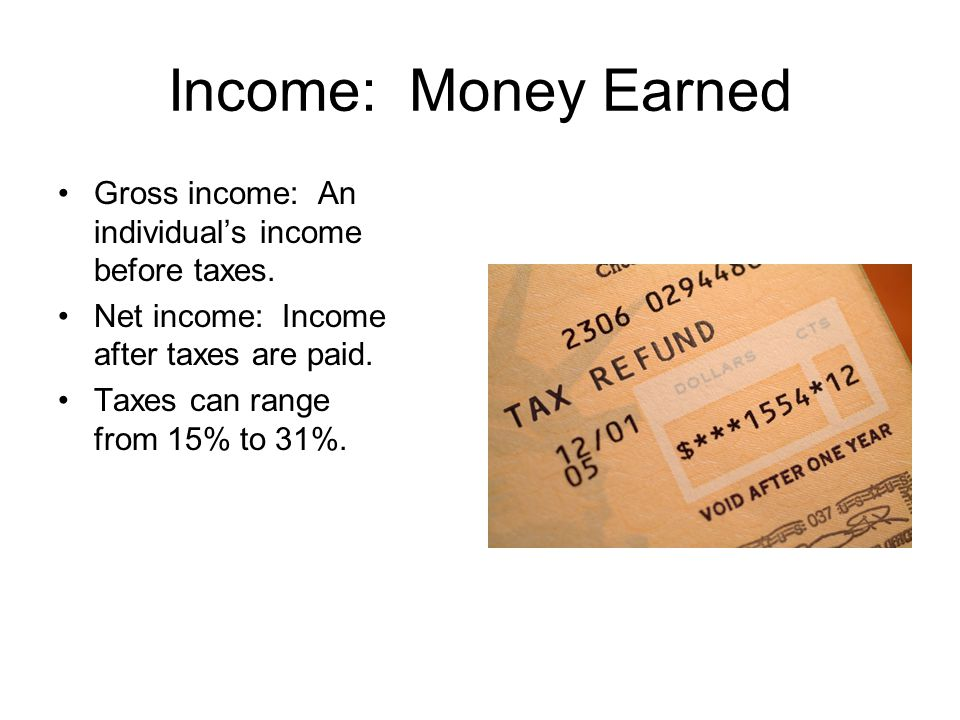 Income: Money Earned Gross income: An individual's income before taxes. Net income: Income after taxes are paid.