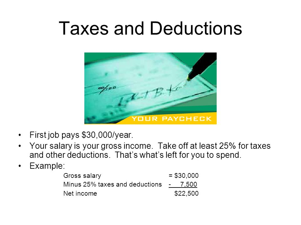 Taxes and Deductions First job pays $30,000/year.