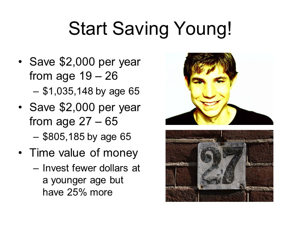 Start Saving Young! Save $2,000 per year from age 19 – 26