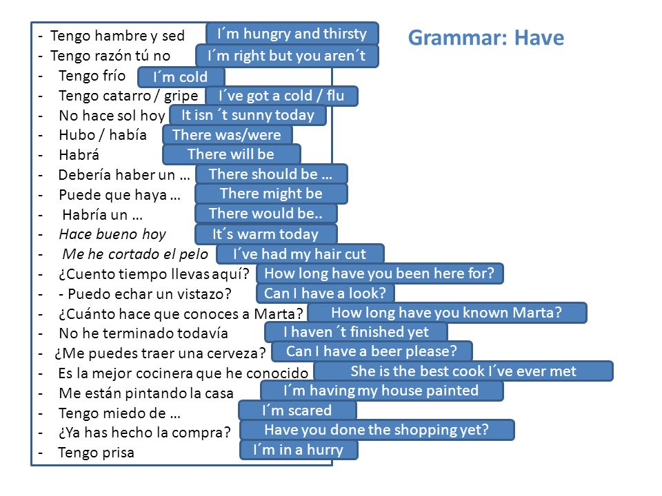 Grammar: Have - Tengo hambre y sed I´m hungry and thirsty