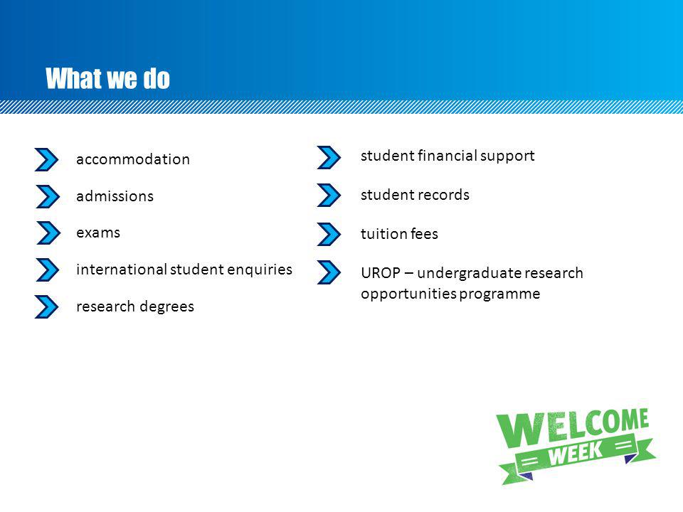 What we do student financial support accommodation admissions