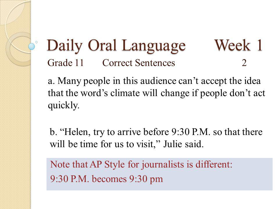 Daily Oral Language Week 1