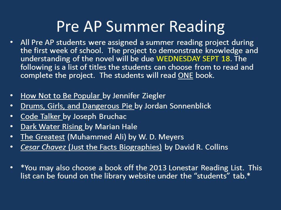 Pre AP Summer Reading