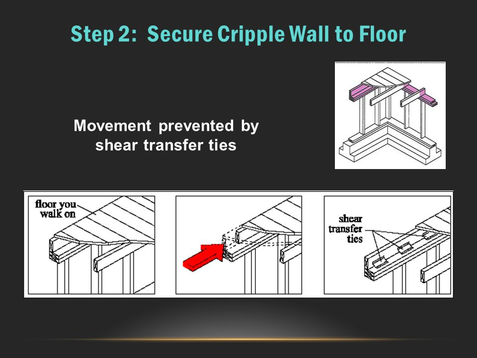 Step 2: Secure Cripple Wall to Floor