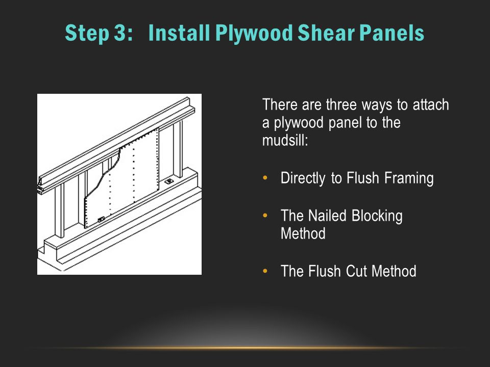Step 3: Install Plywood Shear Panels