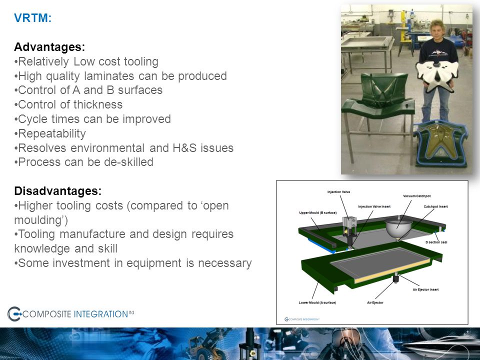 VRTM: Advantages: Relatively Low cost tooling. High quality laminates can be produced. Control of A and B surfaces.