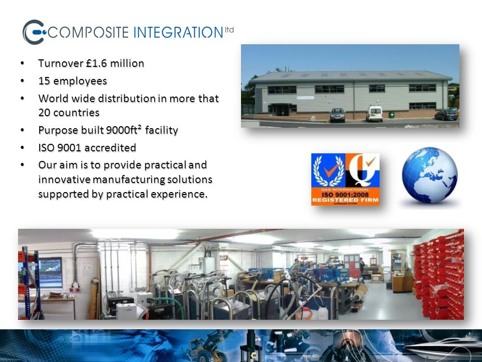 Turnover £1.6 million 15 employees. World wide distribution in more that 20 countries. Purpose built 9000ft² facility.