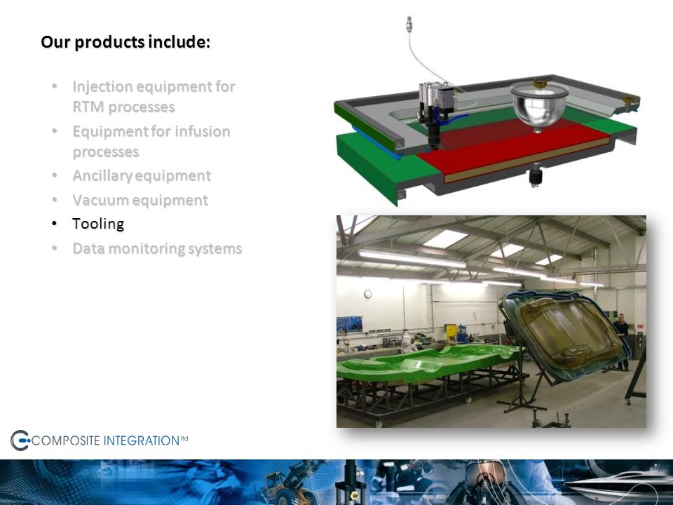 Our products include: Injection equipment for RTM processes