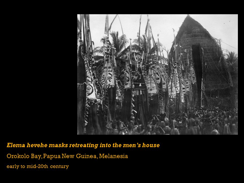 Elema hevehe masks retreating into the men's house