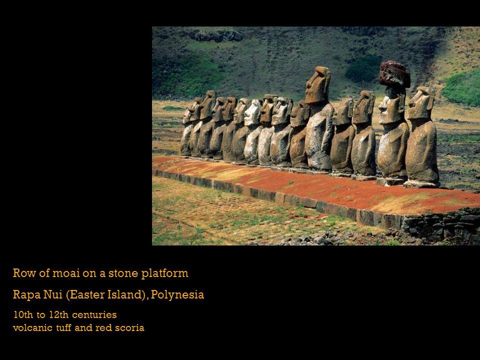 Row of moai on a stone platform Rapa Nui (Easter Island), Polynesia