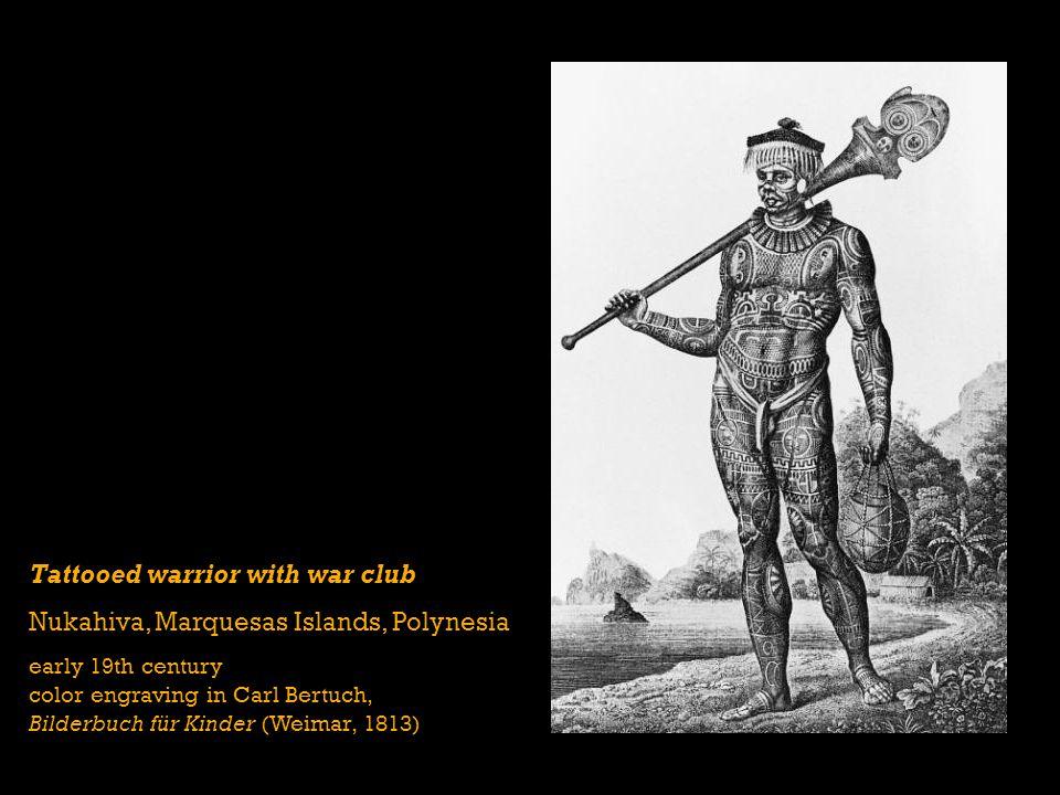 Tattooed warrior with war club Nukahiva, Marquesas Islands, Polynesia
