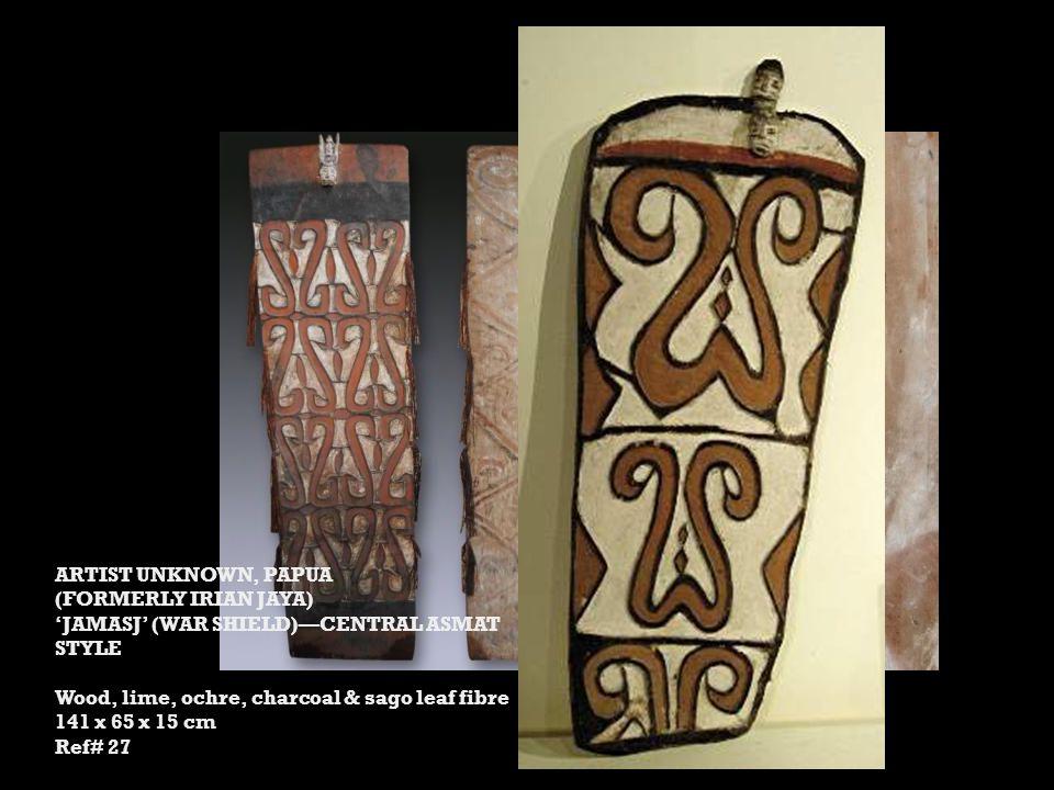 ARTIST UNKNOWN, PAPUA (FORMERLY IRIAN JAYA) 'JAMASJ' (WAR SHIELD)—CENTRAL ASMAT STYLE Wood, lime, ochre, charcoal & sago leaf fibre 141 x 65 x 15 cm Ref# 27