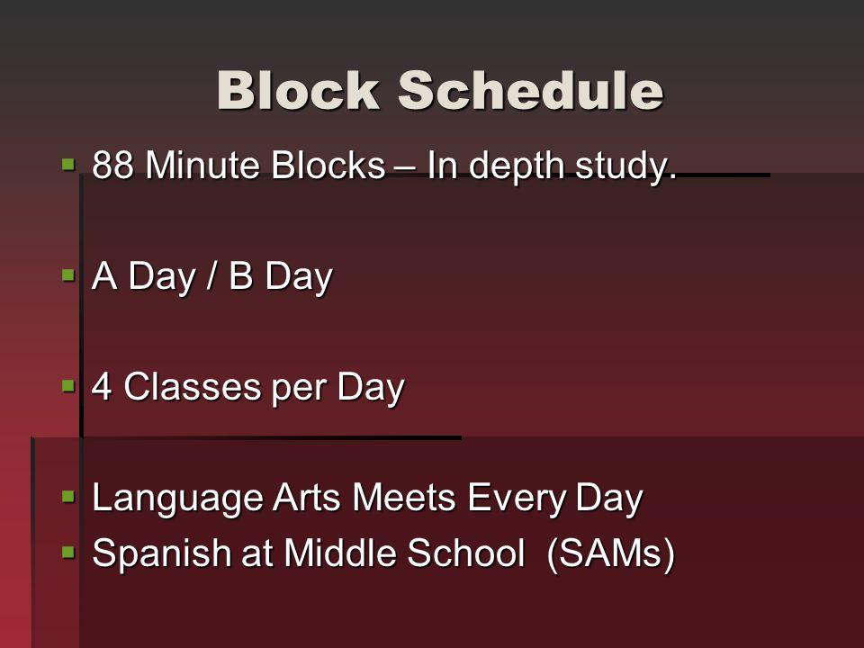 Block Schedule 88 Minute Blocks – In depth study. A Day / B Day
