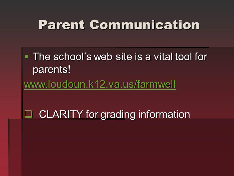 Parent Communication The school's web site is a vital tool for parents! www.loudoun.k12.va.us/farmwell.