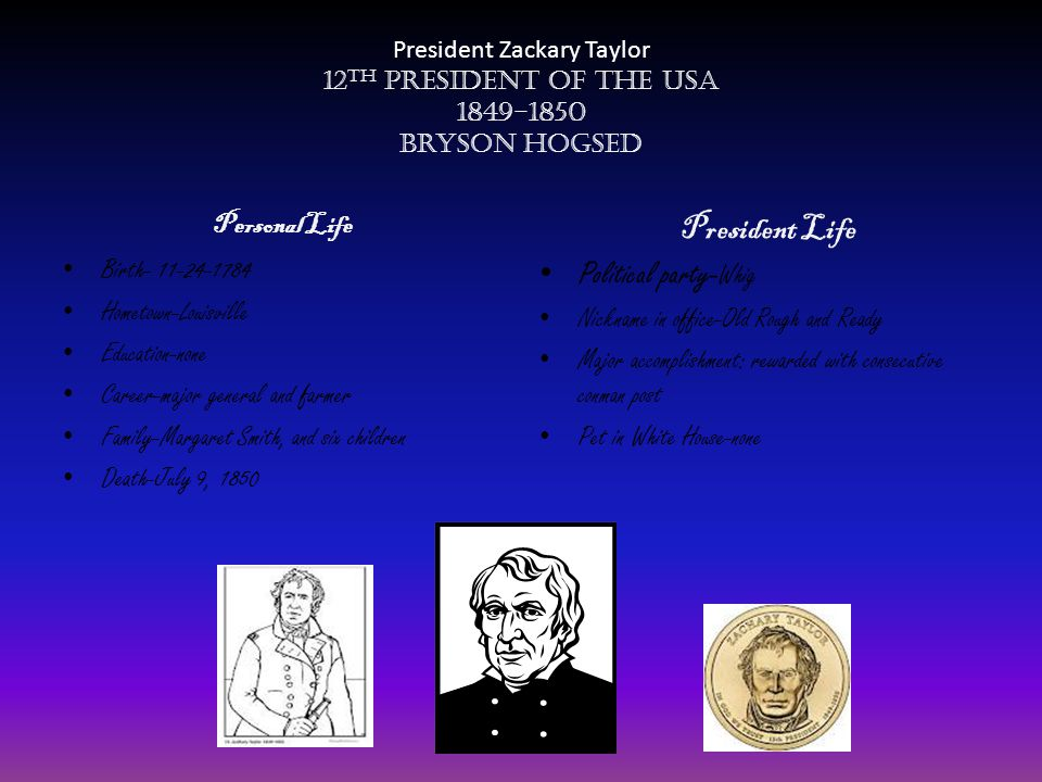 President Life Political party-Whig Personal Life Birth- 11-24-1784