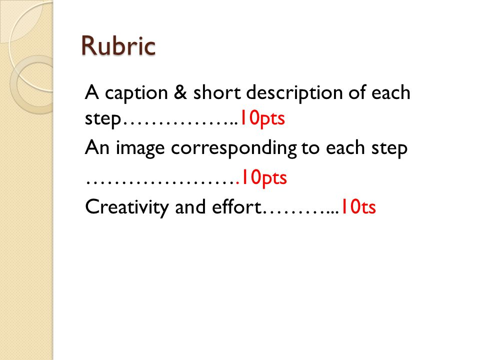 Rubric A caption & short description of each step……………..10pts An image corresponding to each step ………………….10pts Creativity and effort………...10ts